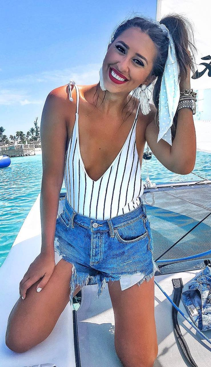 best vacation outfit idea / striped monokini and denim shorts