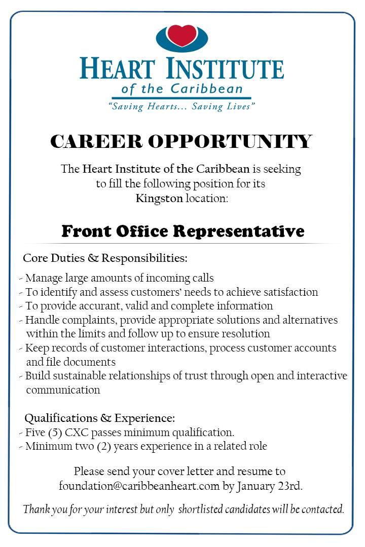 jobs postings caribbean front office representative kingston