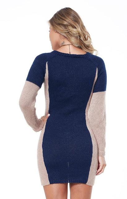 Vestido de tricô emagrecedor