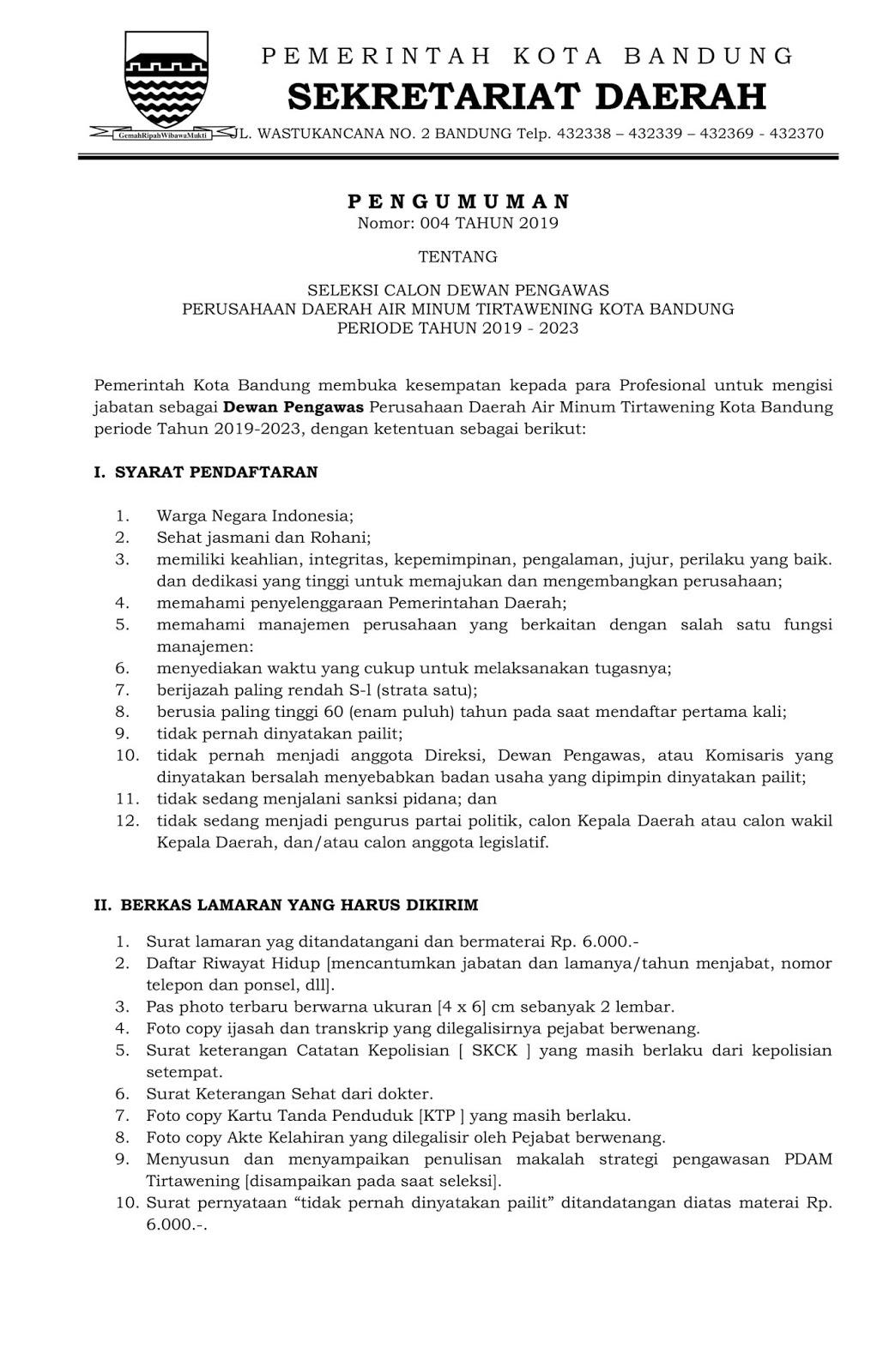 Lowongan Kerja PDAM Tirtawening Pemerintah Kota Bandung
