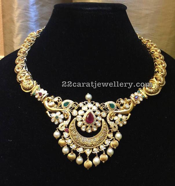 Peacock Kante Chandbali Pendant by Moksha Diamonds