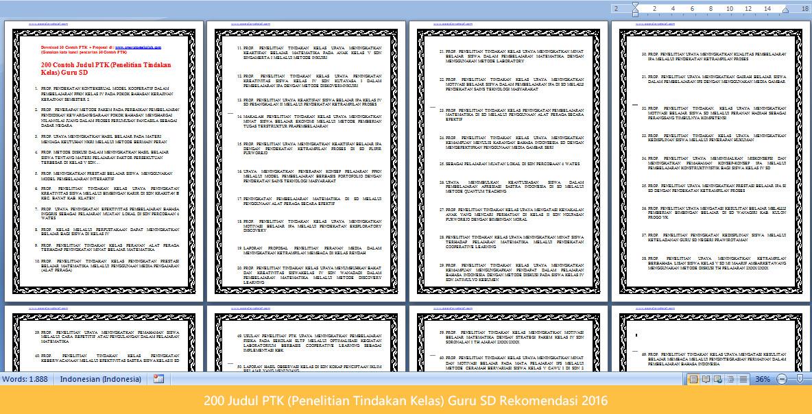 200 Judul PTK (Penelitian Tindakan Kelas) Guru SD Rekomendasi 2016