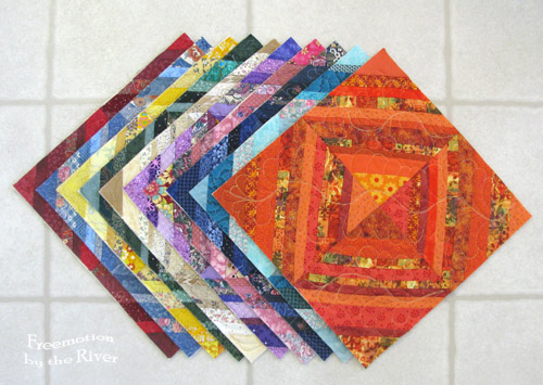 10 Rainbow scrap string blocks