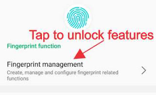 Tap to unlock fingerprint features