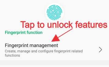 Tap to unlock fingerprint features