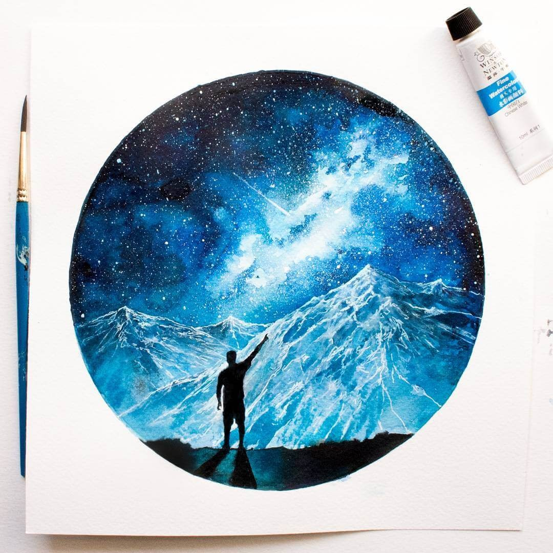 03-Waking-Up-03-Destiny-Prakersh-Blue-and-Round-Fantasy-Watercolor-Paintings-www-designstack-co