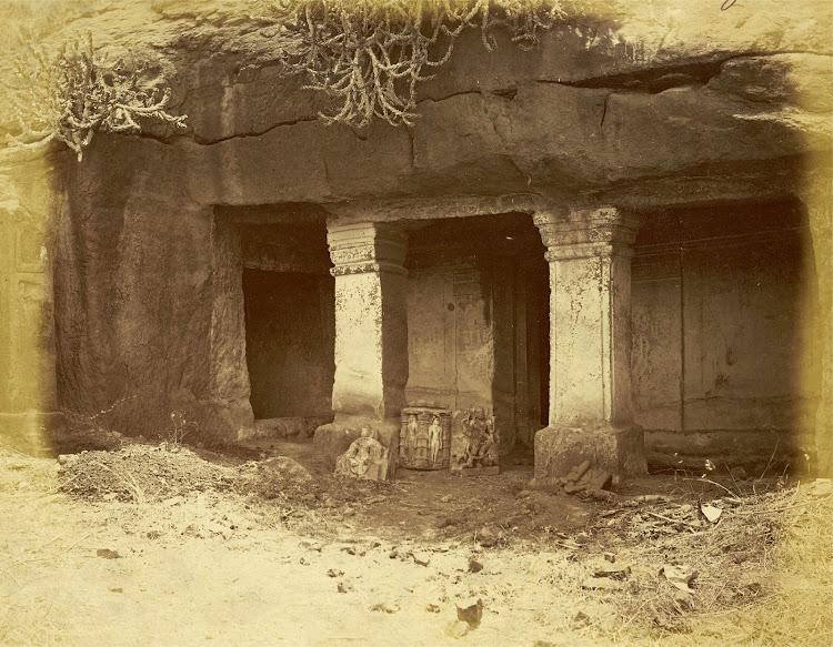 Entrance to the Nagarjuna Kotri, Jain Rock-Cut Temple at Patan, Khandesh District - c1885
