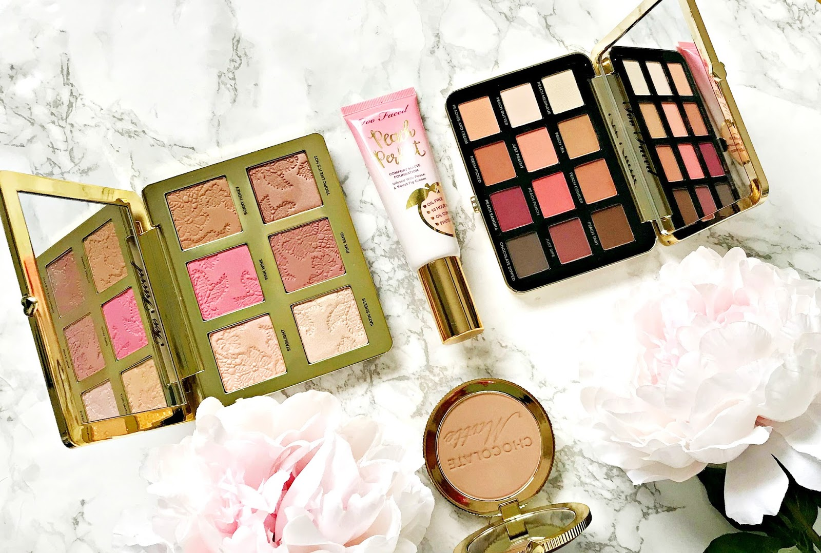 Too Faced, Chocolate Matte Soleil Bronzer, Just Peachy Velvet Matte, Eyeshadow Palette, Natural Face Palette, Peach Perfect Comfort Matte Foundation, Review,