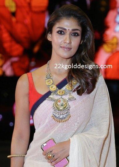 Nayanthara In Big Statement Necklace 22kGoldDesigns