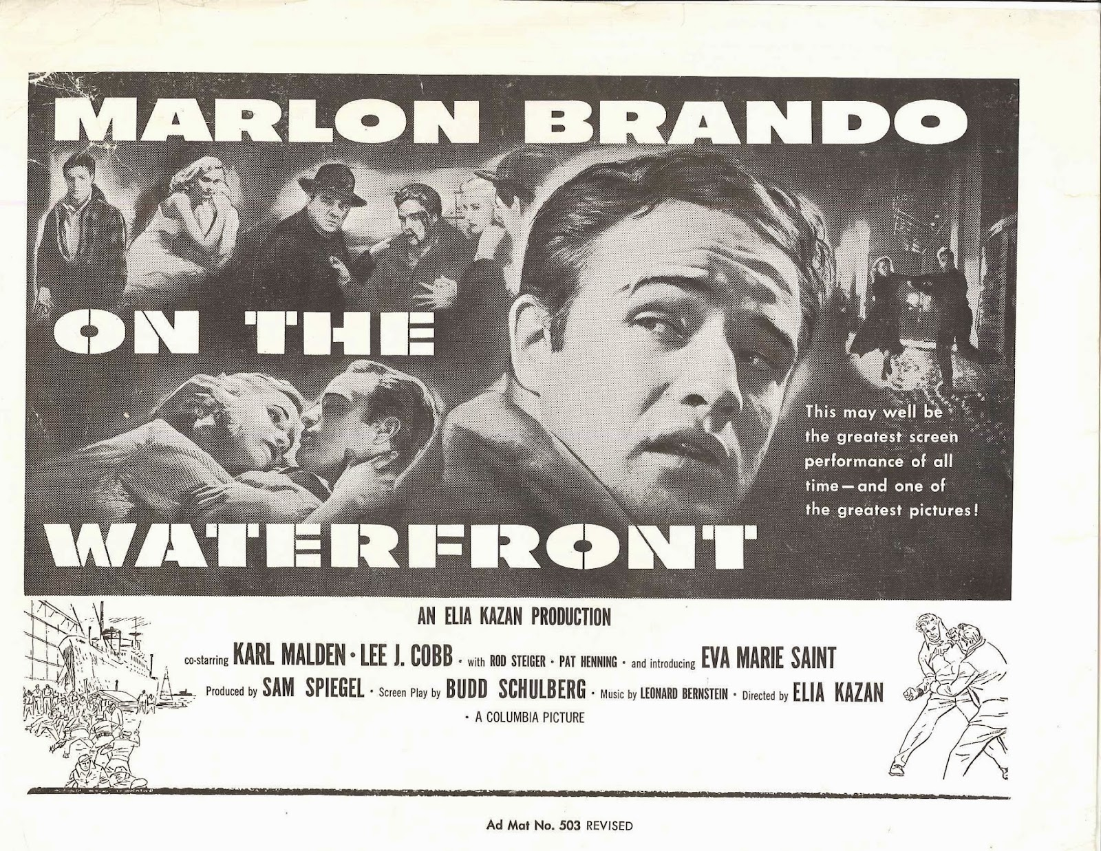 "A black and white poster for ""On the Waterfront,"" prominently featuring a photograph of Marlon Brando with other actors in the background."