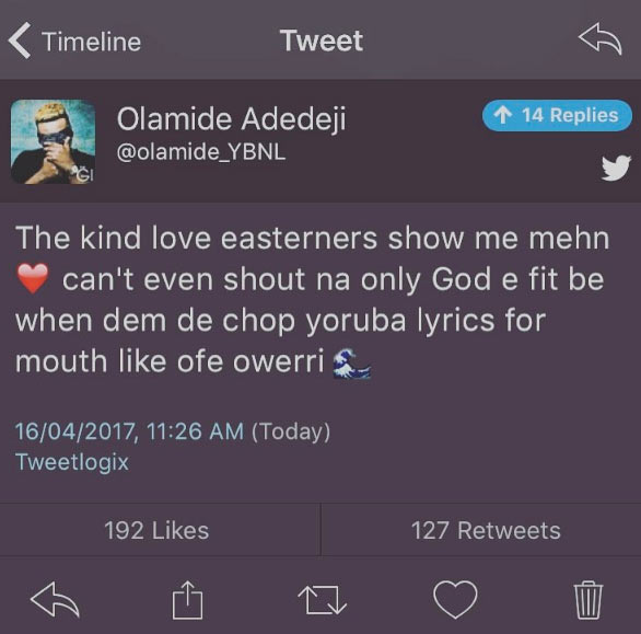 They chop my lyrics like ofe Owerri - Olamide shouts out to his Igbo fans