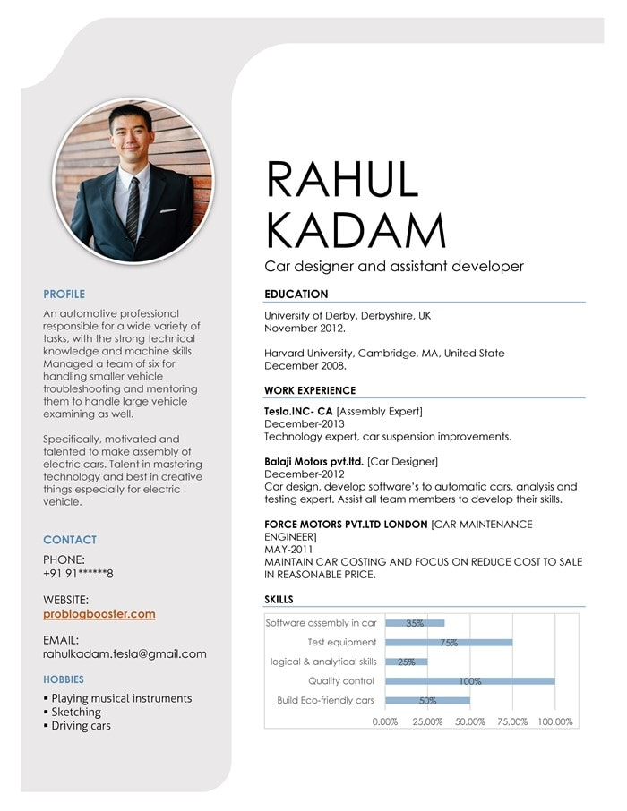 Cubic resume format
