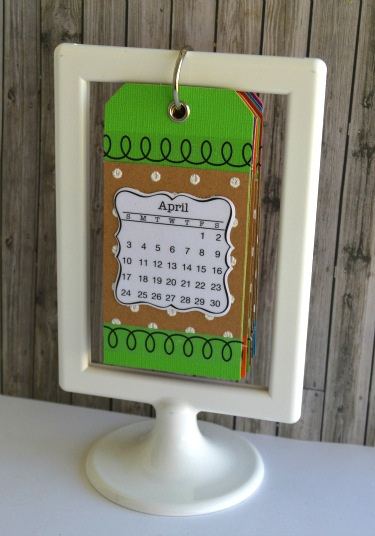 SRM Stickers Blog - Mini Calendar Frame by Christine - #minicalendar #2016 #altered #DIY #stickers #stitches #die