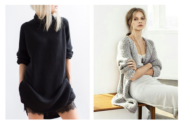 Сочетание различных текстур в одном наряде - шерсть + атлас + кружево