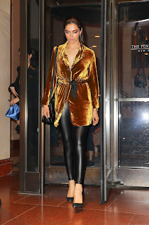 Deepika Padukone Glows iin a Stunning Velvet Blazer and Leather Leggings at Balmain After Party At Boom Boom Room At The Standard el in New York City