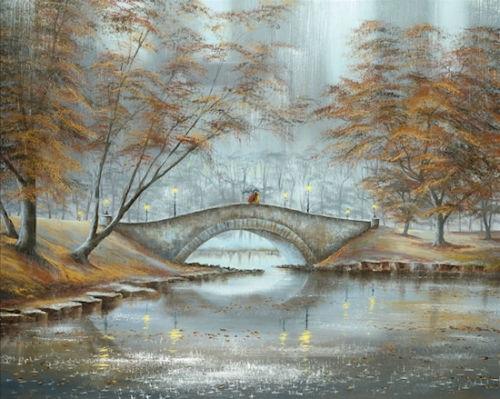 04-Meet-Me-On-The-Bridge-Jeff-Rowland-Paintings-of-Romantic-Scenes-in-the-Rain-www-designstack-co