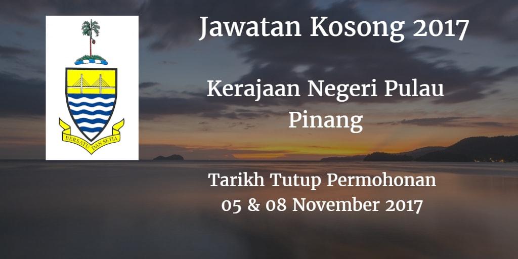Jawatan Kosong Kerajaan Negeri Pulau Pinang 05 & 08 November 2017
