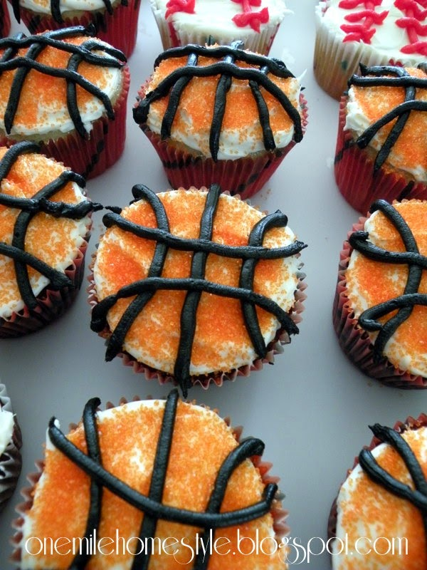 Sports Theme Birthday Party - Basketball Cupcakes