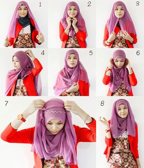 Gambar Jilbab Segi Empat Satin Motif