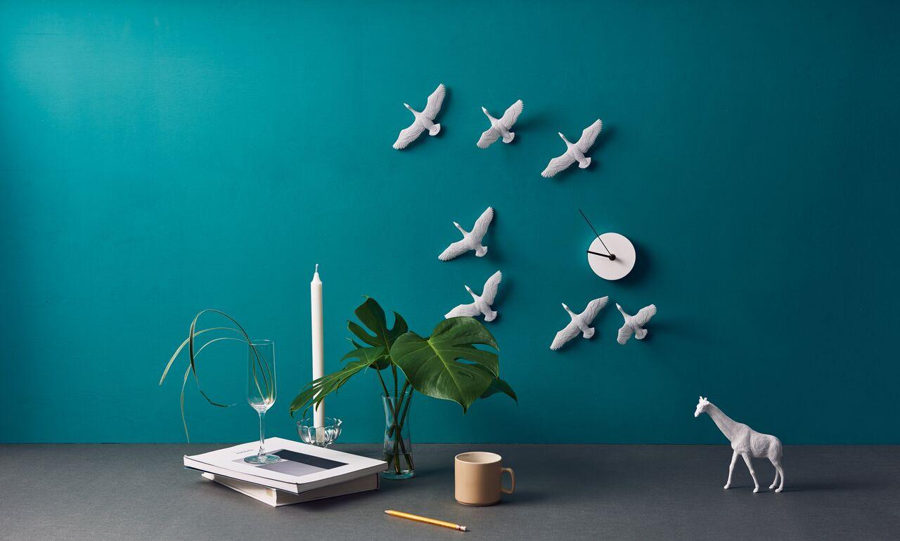 Odlatujące ptaki, zegar, dekoracja