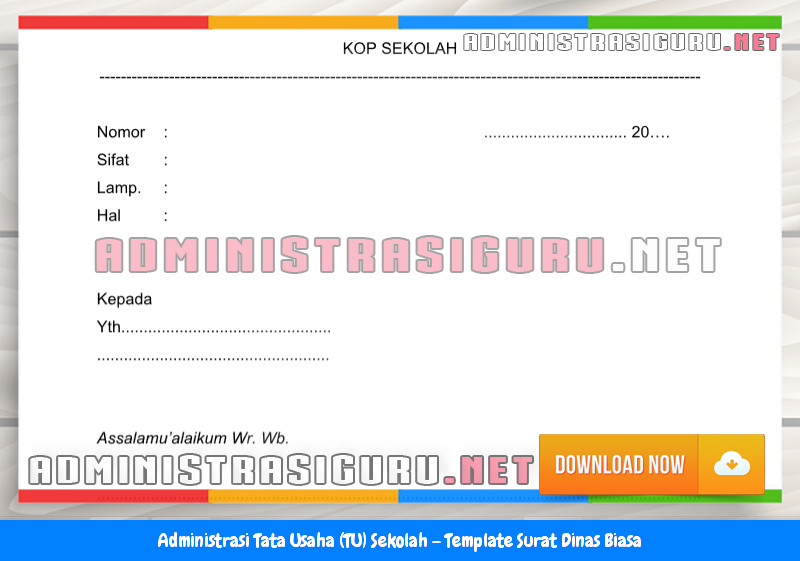 Contoh Format Surat Dinas Biasa Administrasi Tata Usaha Sekolah Terbaru Tahun 2015-2016.docx