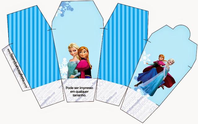 """Caja tipo """"de comida china""""de Frozen en Navidad Azul."""