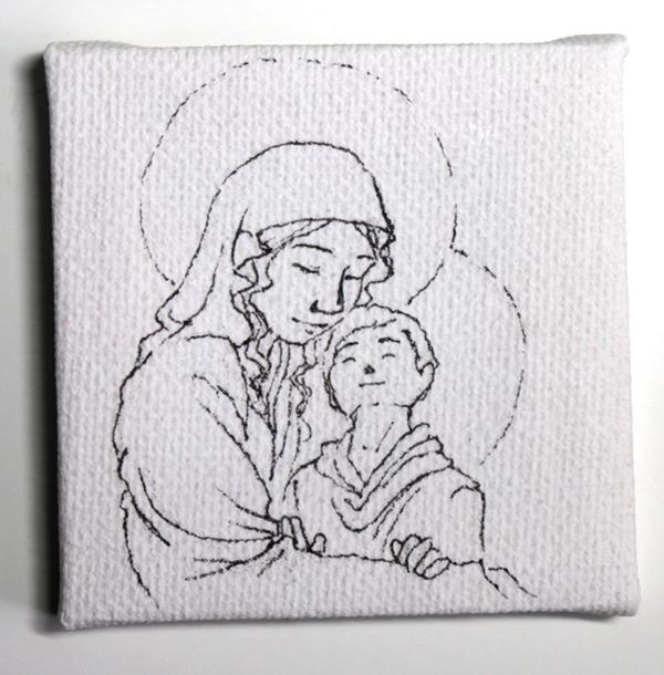 vierge à l'enfant miniature - encrage