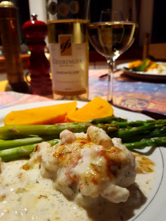 Ehrenfelser & Rock Cod with  Parmigiano and Shrimp Topping