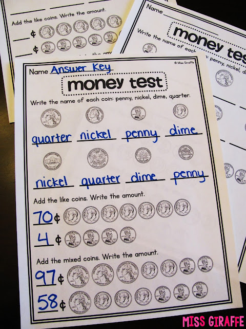 Money tests for coin assessments to practice coin identification, counting coins, and more