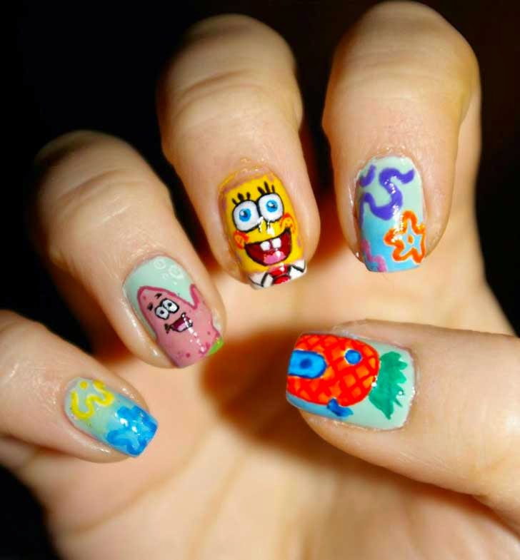 Bob sponge Nail design