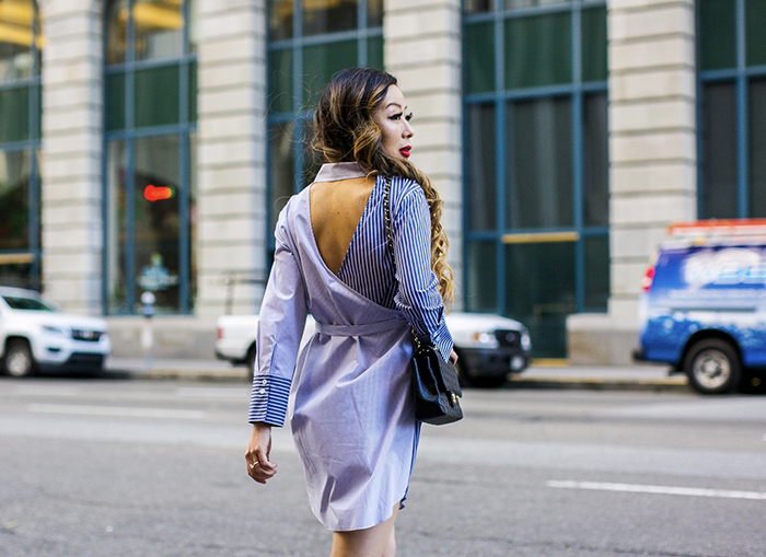 topshop stripe wrap back shirt dress, shirt dress, wrap back shirt dress, chanel classic flap bag, schutz heels, baublebar earrings, san francisco street style, san francisco fashion blog