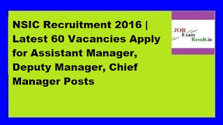 NSIC Recruitment 2016 | Latest 60 Vacancies Apply for Assistant Manager, Deputy Manager, Chief Manager Posts