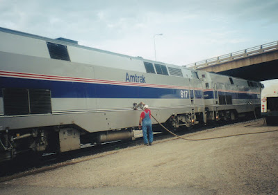 Amtrak B40-8Ps #817 & #800 at Minot, North Dakota, on July 24, 1999