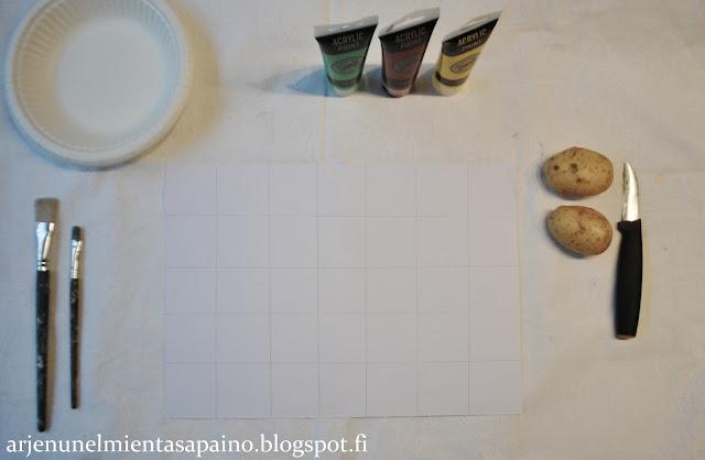 peruna, veitsi, sivellin, maali, leimasin, perunaleimasin, pakettikortti, diy