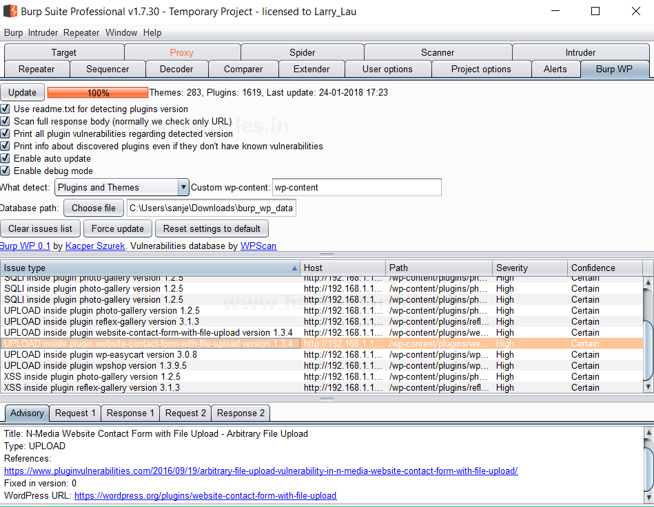 Wordpress Exploitation using Burpsuite (Burp_wp Plugin)