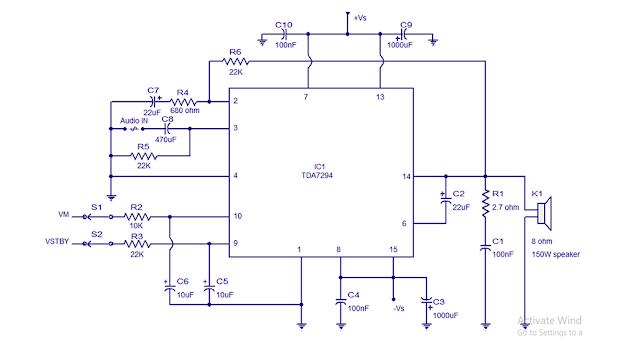 rangkaian ampli 100 watt TDA7294
