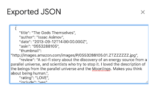 Screenshot of exported JSON for Google spreadsheet