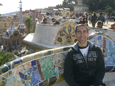 Multi-coloured tiled mosaic seats in Park Güell