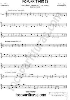 Partitura de Flauta Travesera, flauta dulce y flauta de pico Yankee Doodley, Las 3 hojitas, La Pastora Popurrí Mix 22 Sheet Music for Flute and Recorder Music Score