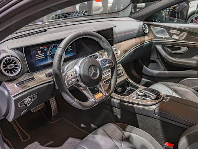 black and brwon inside  mercedes-amg cls 53