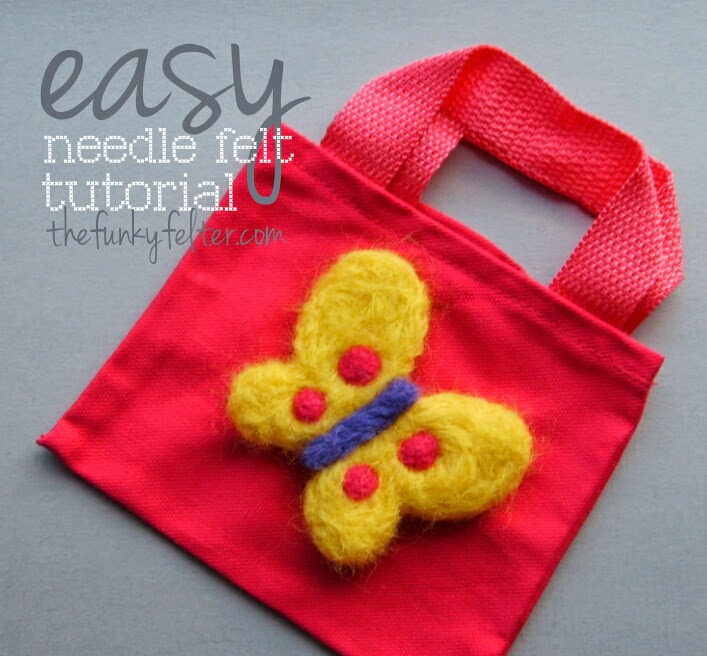 easy needle felted butterfly using cookie cutters on a kids tote bag