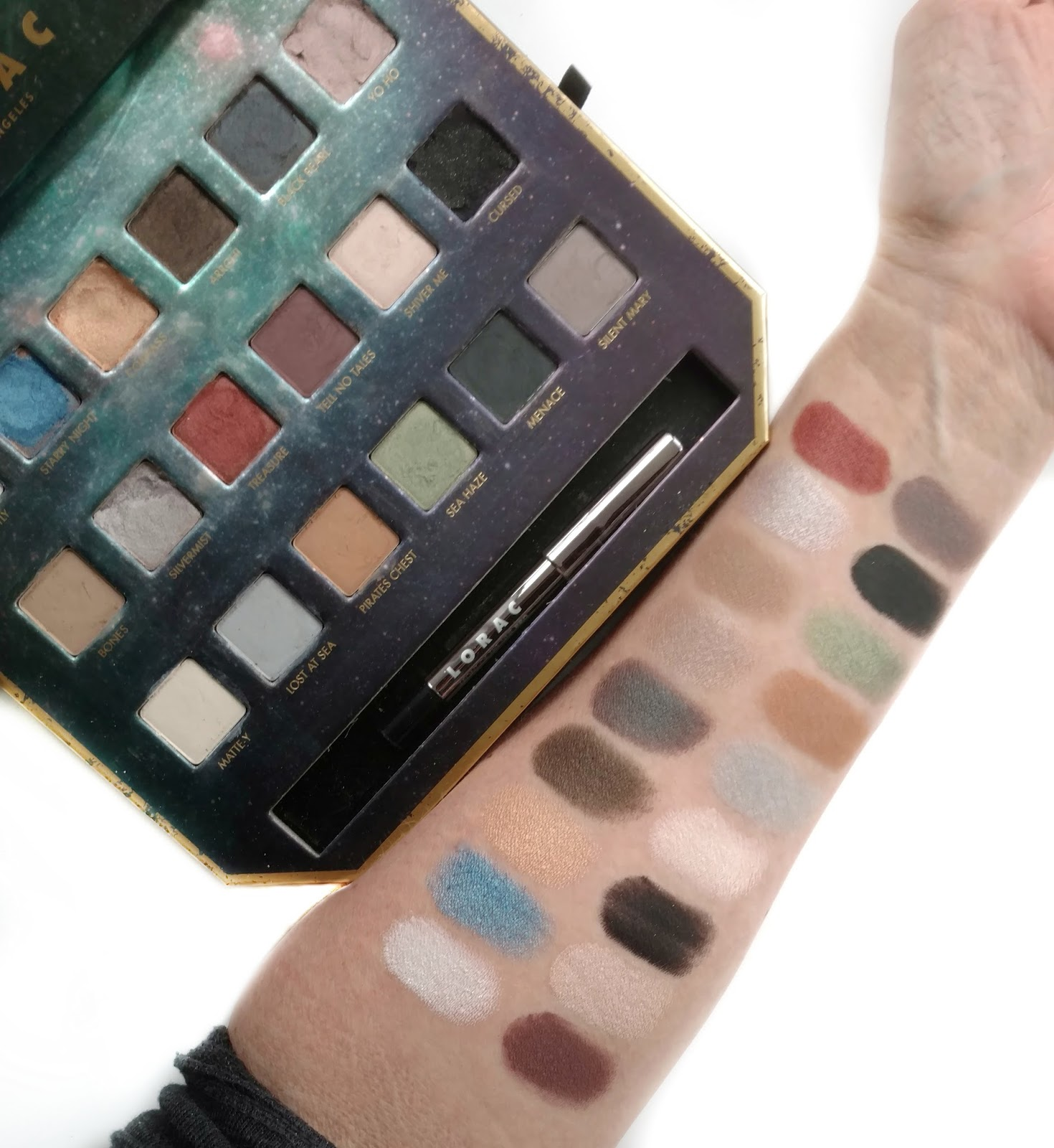 lorac pirates of the caribbean eyeshadow palette swatches