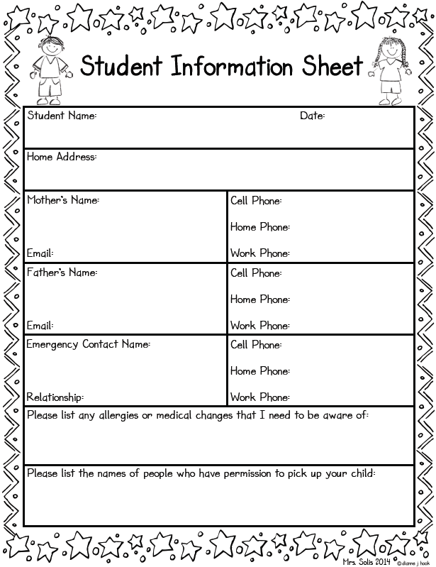 daycare information sheet template - mrs solis 39 s teaching treasures student information sheet