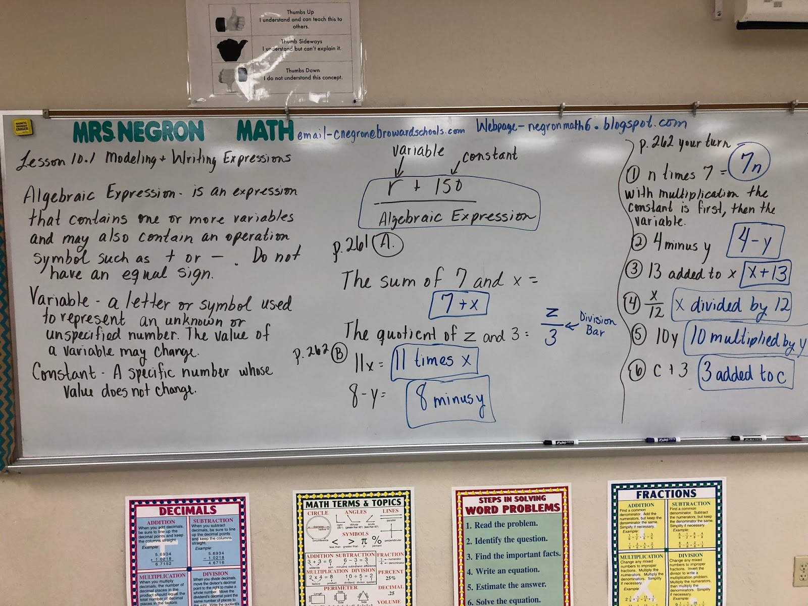 Mrs Negron 6th Grade Math Class Lesson 10 1 Modeling And