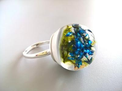 pierścionek wrzos i srebro