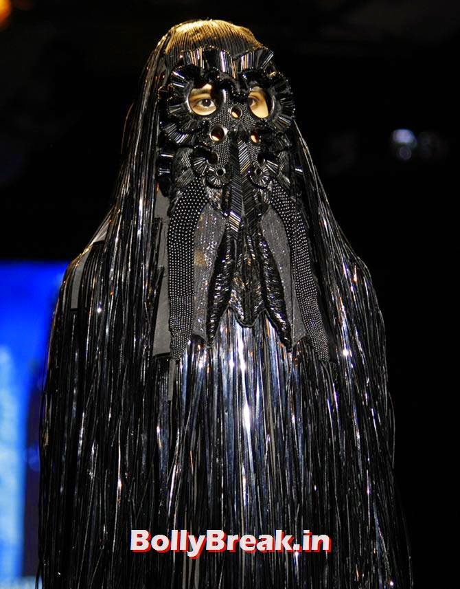A model in an Amit Aggarwal creation., Bizarre Dresses from Fashion Show - LFW
