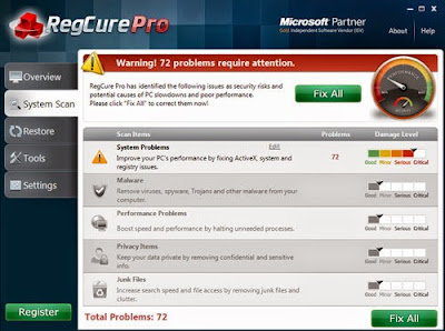 the screenshot of scan result of RegCure Pro