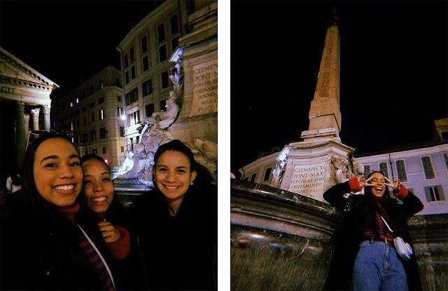chicas sonriente frente al panteon de roma y la fuente que está cerca de este