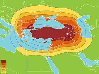 Türksat 4a Türkiye yayını kapsama haritası