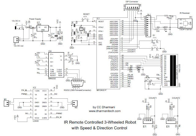 design with microcontrollers  ir remote controlled car  pwm motor control using atmega8